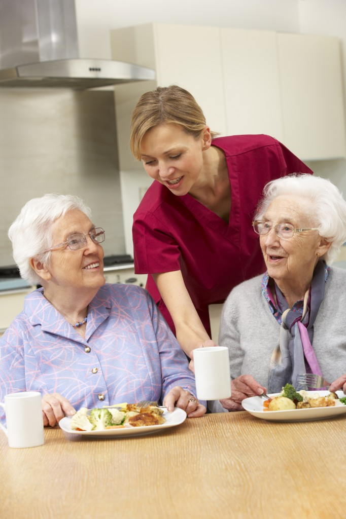 Senior women with carer enjoying meal at home